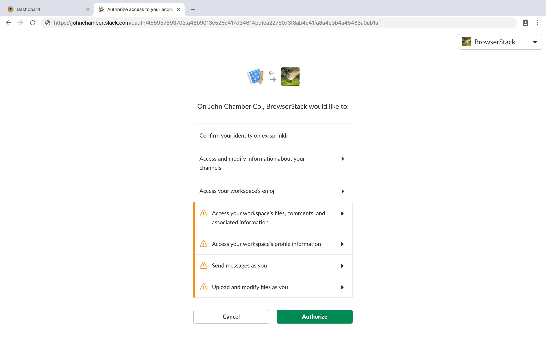 Slack Integration Step 3